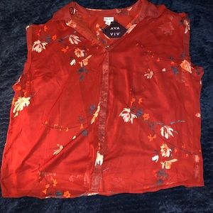 Ava & viv top size 4x red/maroon color